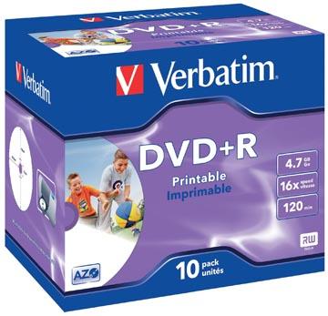 Verbatim DVD enregistrable DVD+R, imprimable, boîte de 10 pièces, emballées individuellement (Jewel Case)