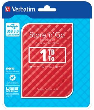Verbatim disque dur 3.0 Store 'n' Go, 1 To, rouge rayé