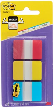 Post-it Index Strong, ft 25,4 x 38 mm, set de 3 couleurs (rouge, jaune et bleu), 22 cavaliers par couleur