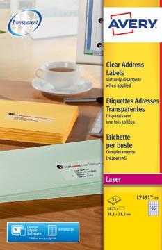 Avery L7551-25 étiquettes adresse ft 38,1 x 21,2 mm (b x h), 1.625 étiquettes, transparent